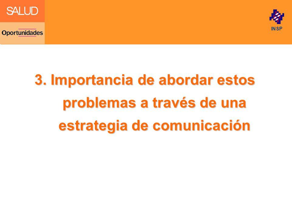Click to edit Master title style INSP 3. Importancia de abordar estos problemas a través de una estrategia de comunicación