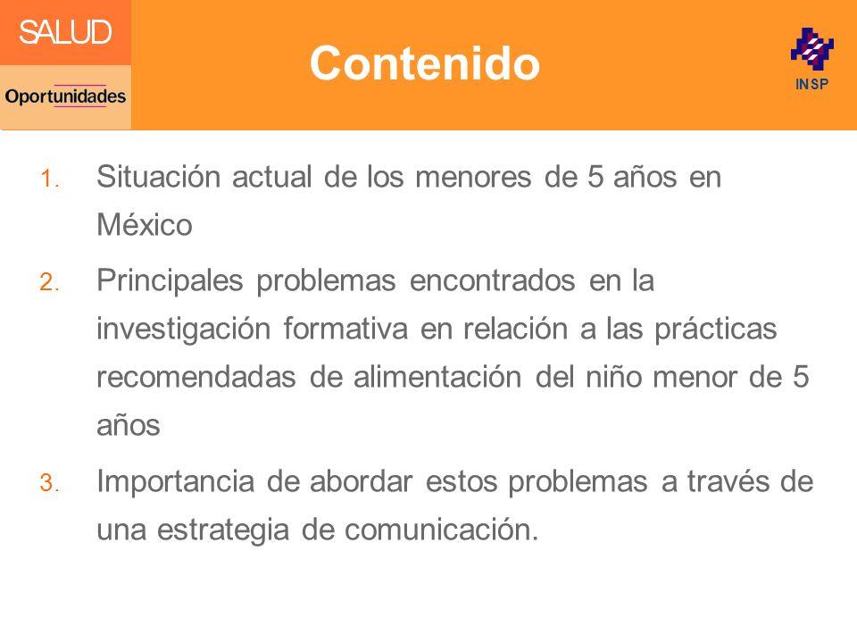 Click to edit Master title style INSP Contenido 1. Situación actual de los menores de 5 años en México 2. Principales problemas encontrados en la inve