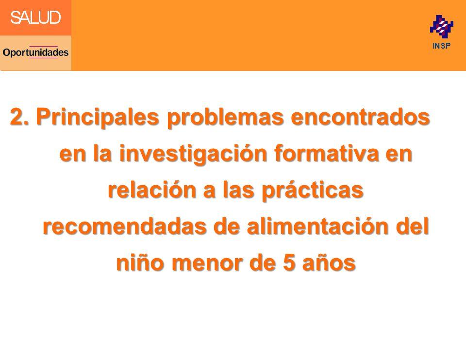 Click to edit Master title style INSP 2. Principales problemas encontrados en la investigación formativa en relación a las prácticas recomendadas de a