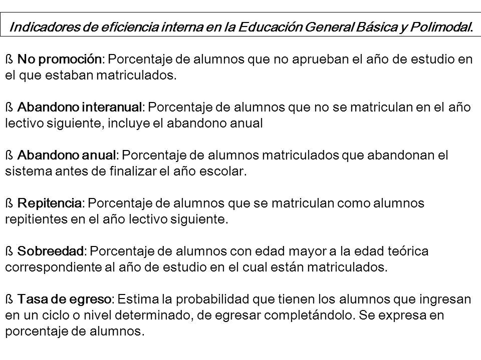 Indicadores de eficiencia interna en la Educación General Básica y Polimodal.