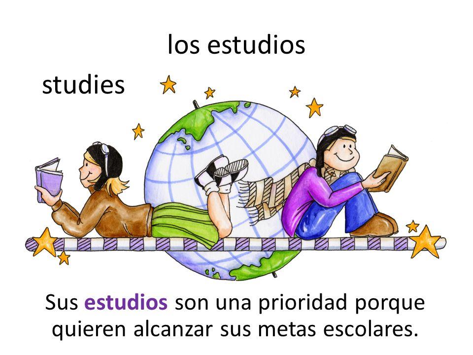 los estudios Sus estudios son una prioridad porque quieren alcanzar sus metas escolares. studies