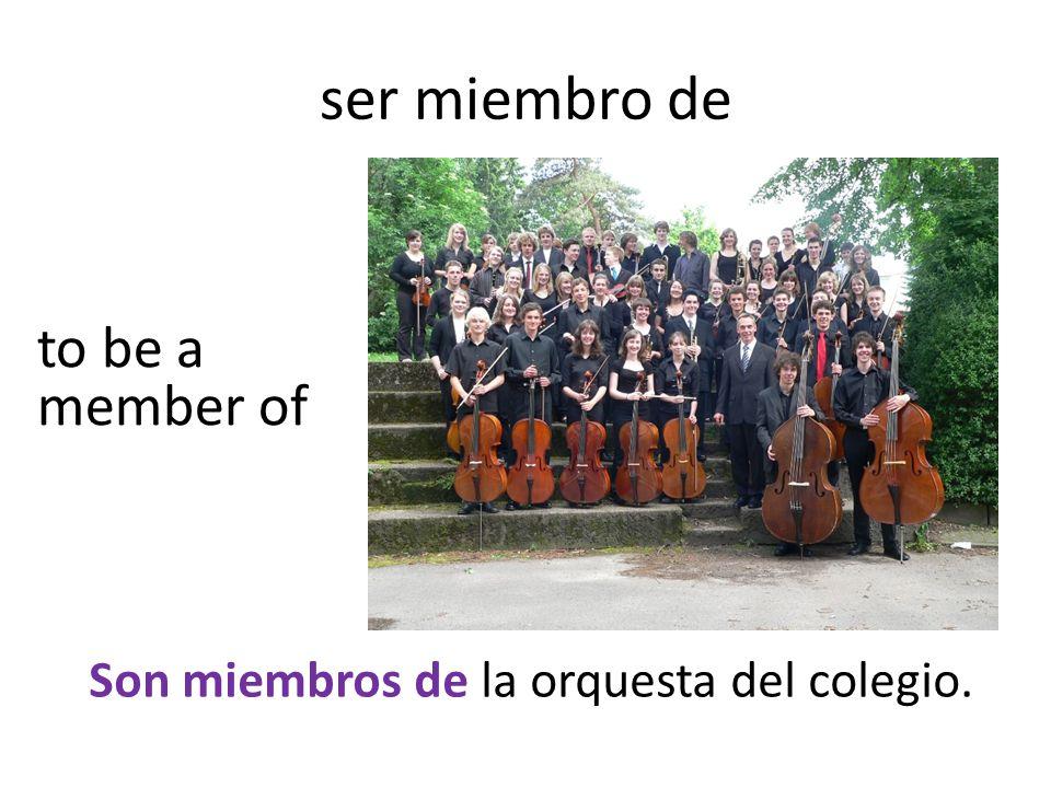 ser miembro de Son miembros de la orquesta del colegio. to be a member of