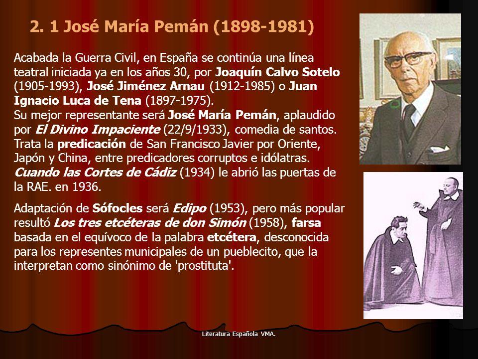 Literatura Española VMA. Acabada la Guerra Civil, en España se continúa una línea teatral iniciada ya en los años 30, por Joaquín Calvo Sotelo (1905-1
