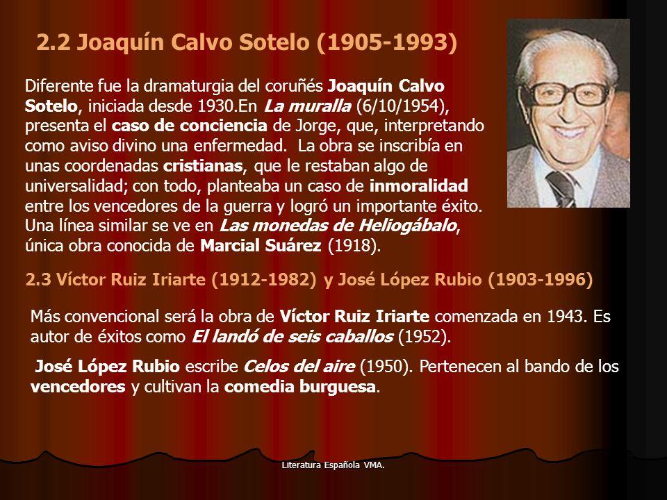 Literatura Española VMA. Diferente fue la dramaturgia del coruñés Joaquín Calvo Sotelo, iniciada desde 1930.En La muralla (6/10/1954), presenta el cas