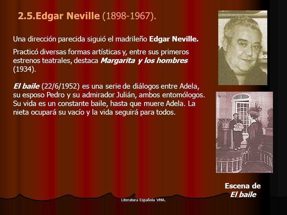 Literatura Española VMA. Una dirección parecida siguió el madrileño Edgar Neville. Practicó diversas formas artísticas y, entre sus primeros estrenos
