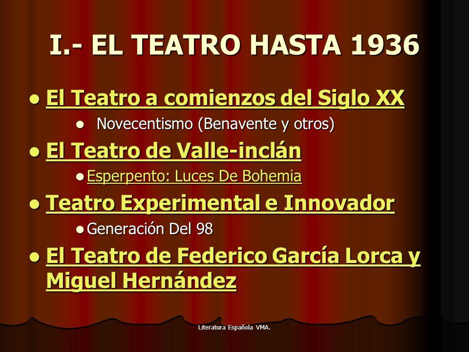 Literatura Española VMA. I.- EL TEATRO HASTA 1936 El Teatro a comienzos del Siglo XX El Teatro a comienzos del Siglo XX El Teatro a comienzos del Sigl