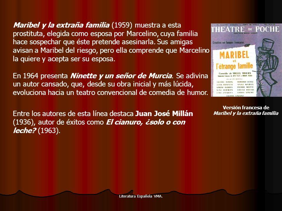 Literatura Española VMA. Maribel y la extraña familia (1959) muestra a esta prostituta, elegida como esposa por Marcelino, cuya familia hace sospechar