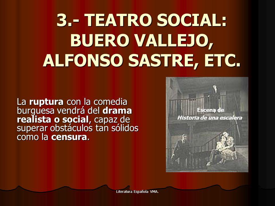 Literatura Española VMA. 3.- TEATRO SOCIAL: BUERO VALLEJO, ALFONSO SASTRE, ETC. La ruptura con la comedia burguesa vendrá del drama realista o social,