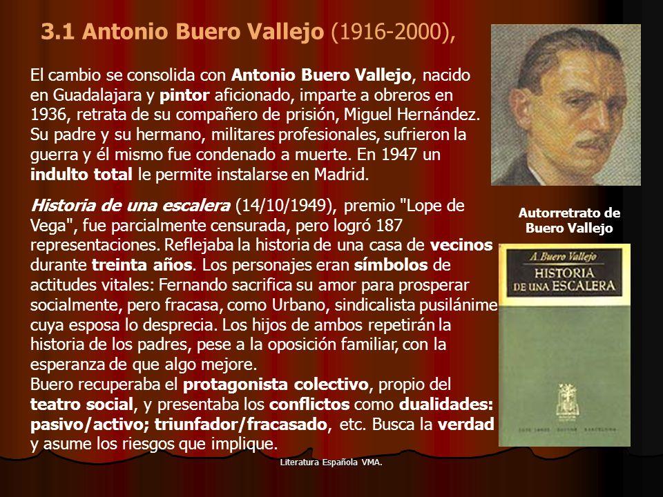 Literatura Española VMA. El cambio se consolida con Antonio Buero Vallejo, nacido en Guadalajara y pintor aficionado, imparte a obreros en 1936, retra