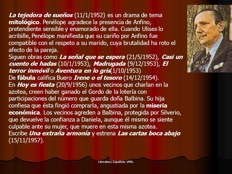 Literatura Española VMA. La tejedora de sueños (11/1/1952) es un drama de tema mitológico. Penélope agradece la presencia de Anfino, pretendiente sens