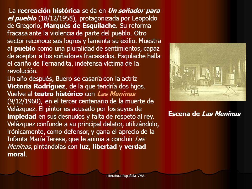 Literatura Española VMA. La recreación histórica se da en Un soñador para el pueblo (18/12/1958), protagonizada por Leopoldo de Gregorio, Marqués de E
