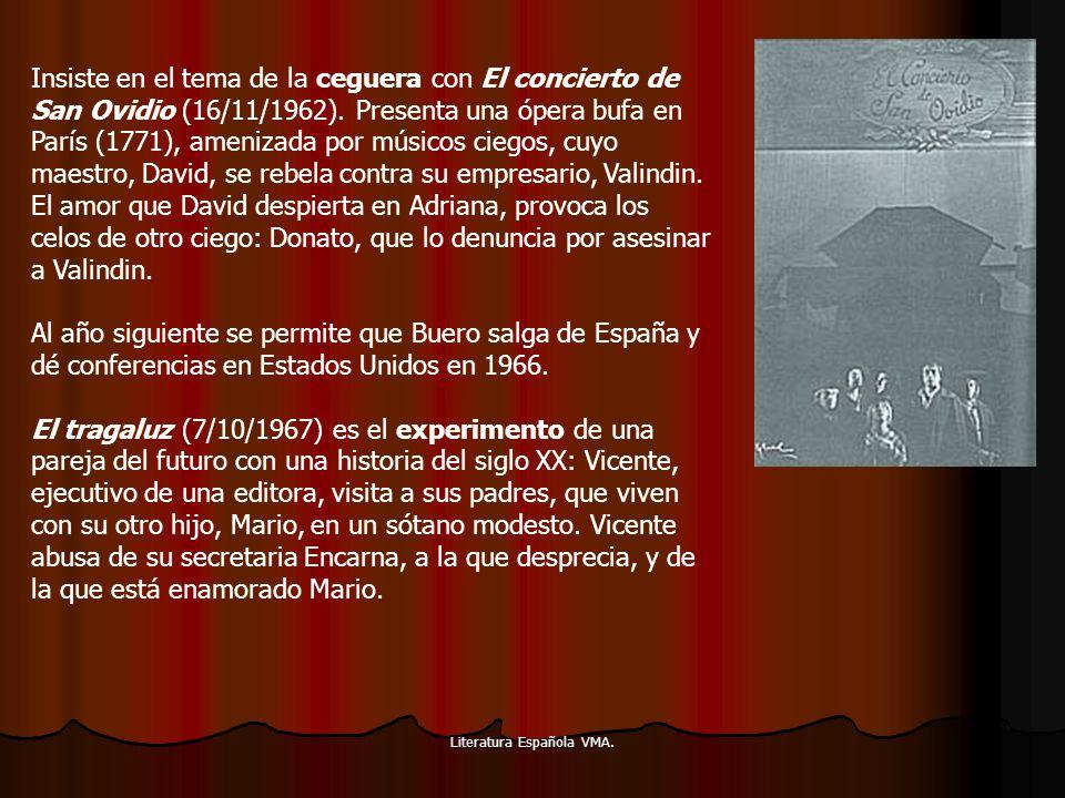 Literatura Española VMA. Insiste en el tema de la ceguera con El concierto de San Ovidio (16/11/1962). Presenta una ópera bufa en París (1771), ameniz