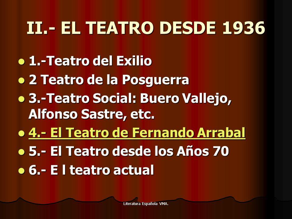 Literatura Española VMA. II.- EL TEATRO DESDE 1936 1.-Teatro del Exilio 1.-Teatro del Exilio 2 Teatro de la Posguerra 2 Teatro de la Posguerra 3.-Teat