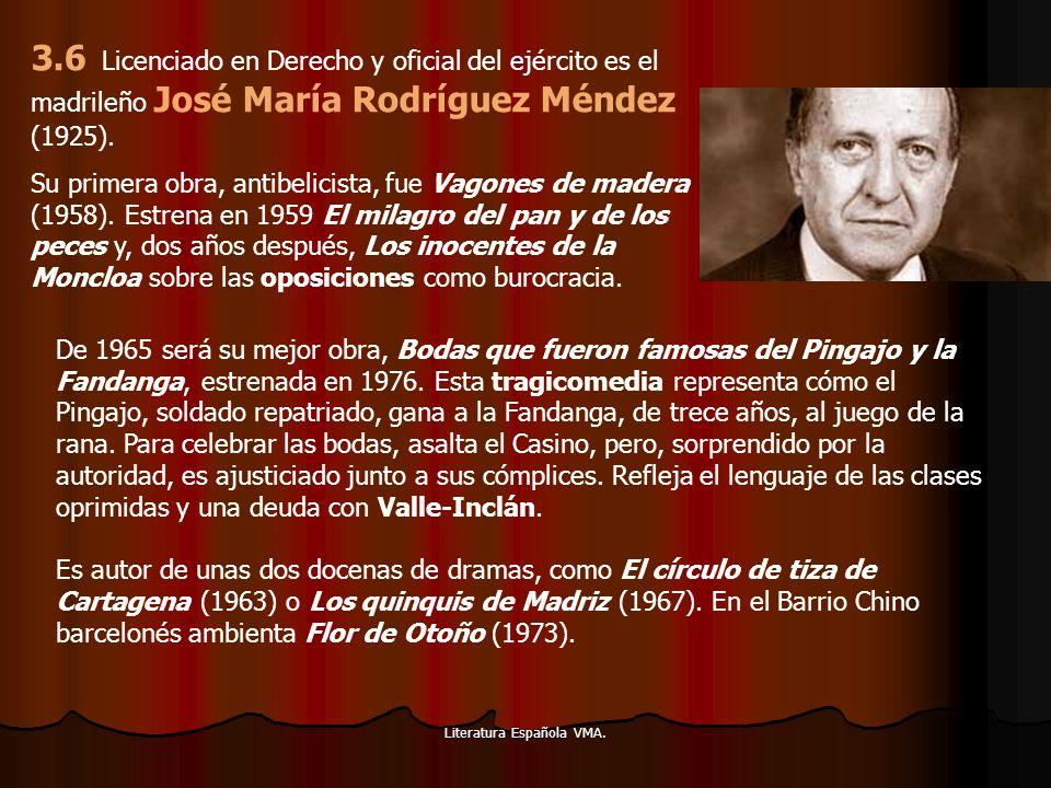 Literatura Española VMA. 3.6 Licenciado en Derecho y oficial del ejército es el madrileño José María Rodríguez Méndez (1925). Su primera obra, antibel