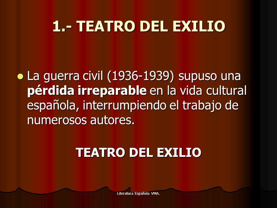 Literatura Española VMA. 1.- TEATRO DEL EXILIO La guerra civil (1936-1939) supuso una pérdida irreparable en la vida cultural española, interrumpiendo