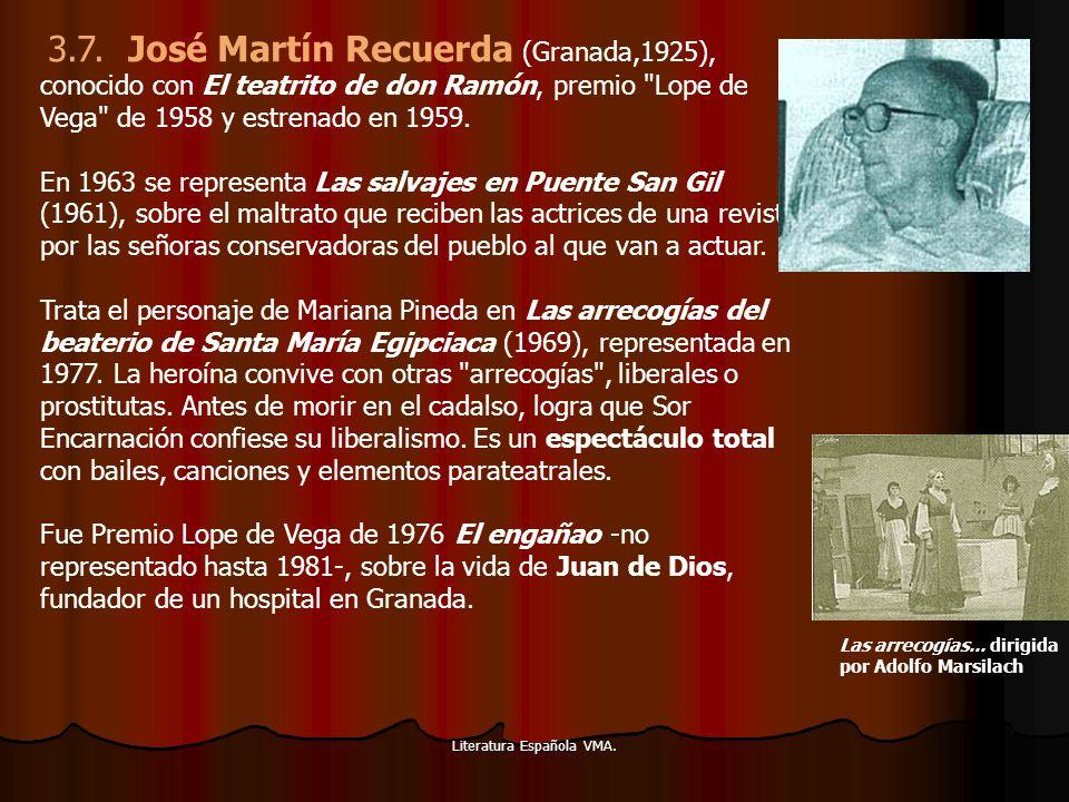 Literatura Española VMA. 3.7. José Martín Recuerda (Granada,1925), conocido con El teatrito de don Ramón, premio