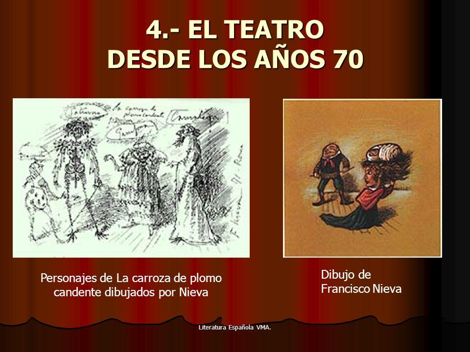 Literatura Española VMA. 4.- EL TEATRO DESDE LOS AÑOS 70 Dibujo de Francisco Nieva Personajes de La carroza de plomo candente dibujados por Nieva