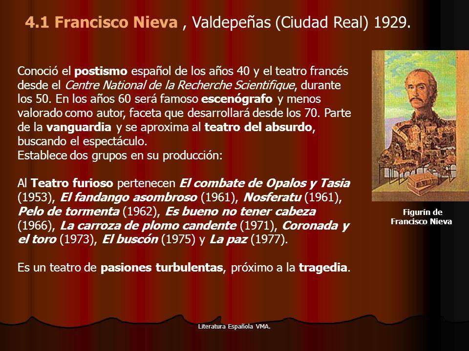 Literatura Española VMA. Conoció el postismo español de los años 40 y el teatro francés desde el Centre National de la Recherche Scientifique, durante