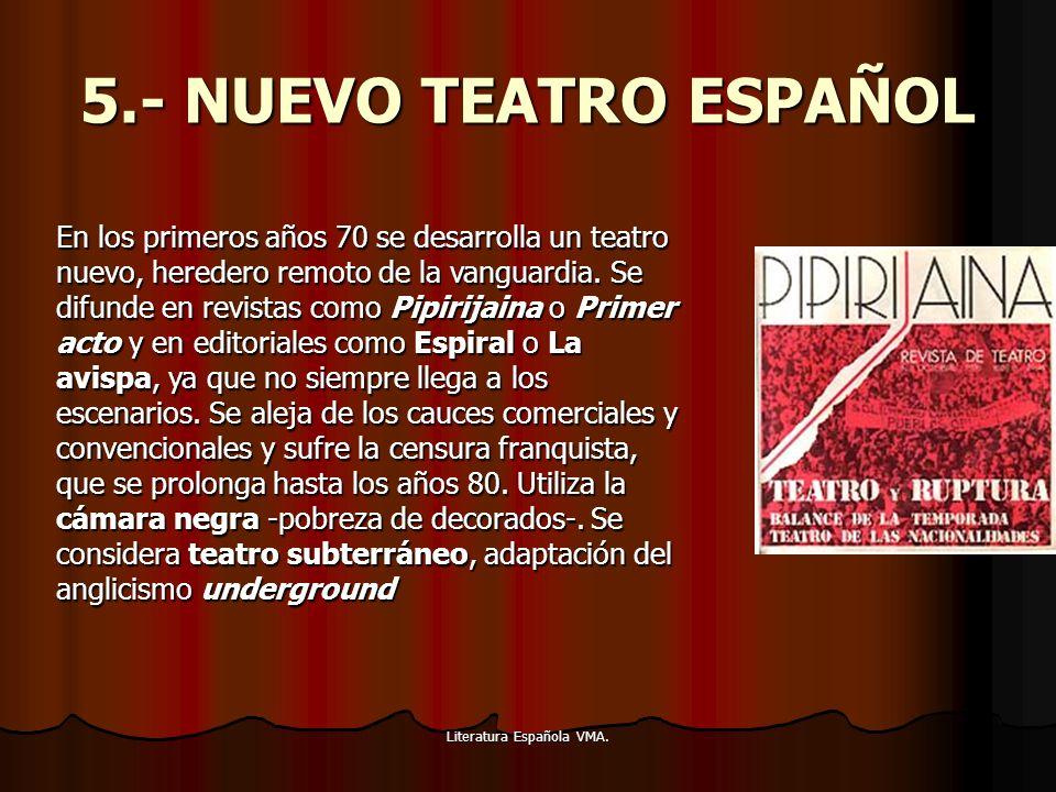 Literatura Española VMA. 5.- NUEVO TEATRO ESPAÑOL En los primeros años 70 se desarrolla un teatro nuevo, heredero remoto de la vanguardia. Se difunde