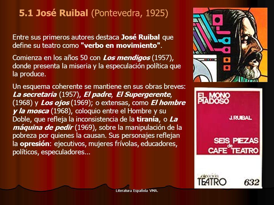 Literatura Española VMA. Entre sus primeros autores destaca José Ruibal que define su teatro como