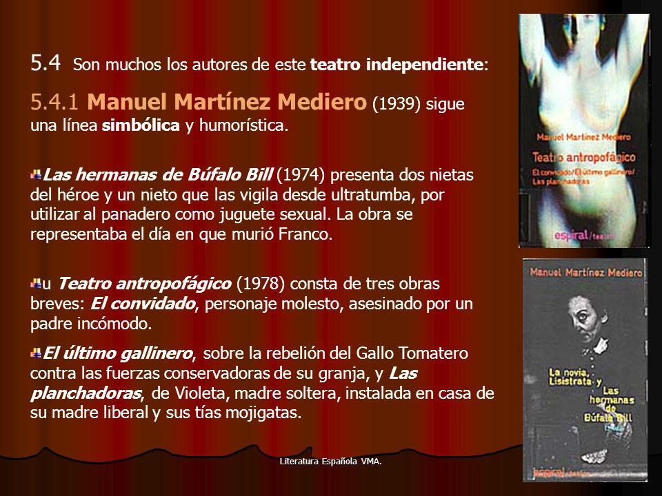 Literatura Española VMA. 5.4 Son muchos los autores de este teatro independiente: 5.4.1 Manuel Martínez Mediero (1939) sigue una línea simbólica y hum