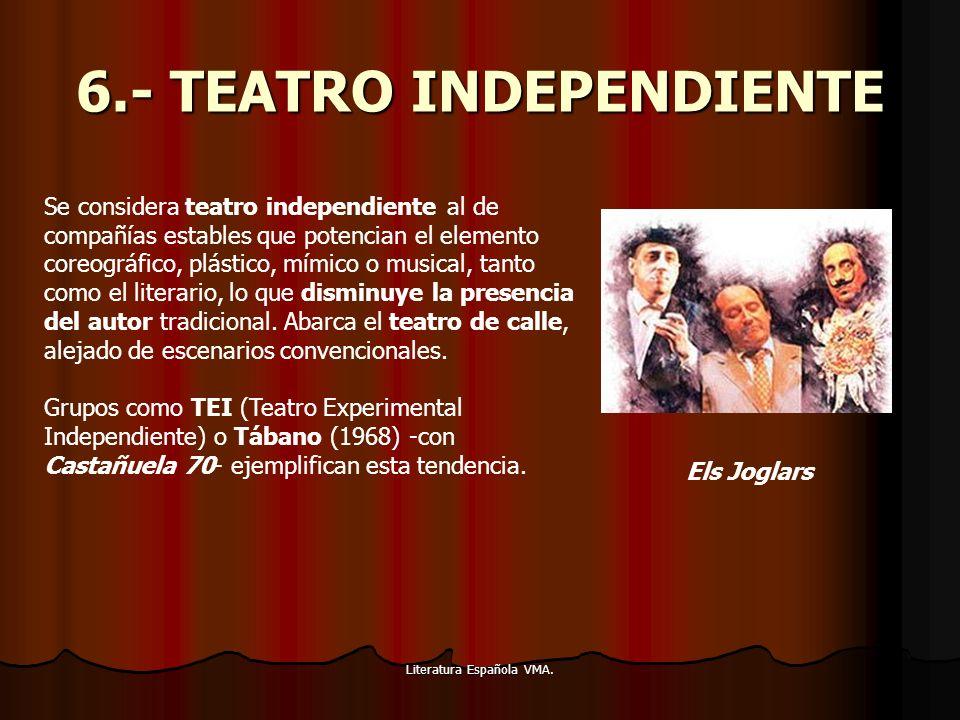Literatura Española VMA. 6.- TEATRO INDEPENDIENTE Se considera teatro independiente al de compañías estables que potencian el elemento coreográfico, p