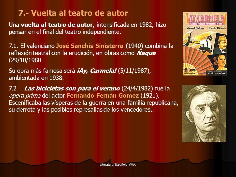 Literatura Española VMA. Una vuelta al teatro de autor, intensificada en 1982, hizo pensar en el final del teatro independiente. 7.1. El valenciano Jo