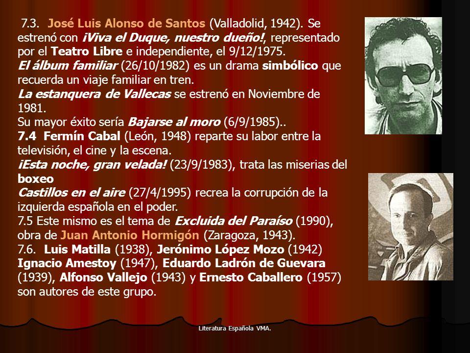 Literatura Española VMA. 7.3. José Luis Alonso de Santos (Valladolid, 1942). Se estrenó con ¡Viva el Duque, nuestro dueño!, representado por el Teatro