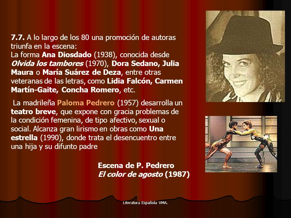 Literatura Española VMA. 7.7. A lo largo de los 80 una promoción de autoras triunfa en la escena: La forma Ana Diosdado (1938), conocida desde Olvida