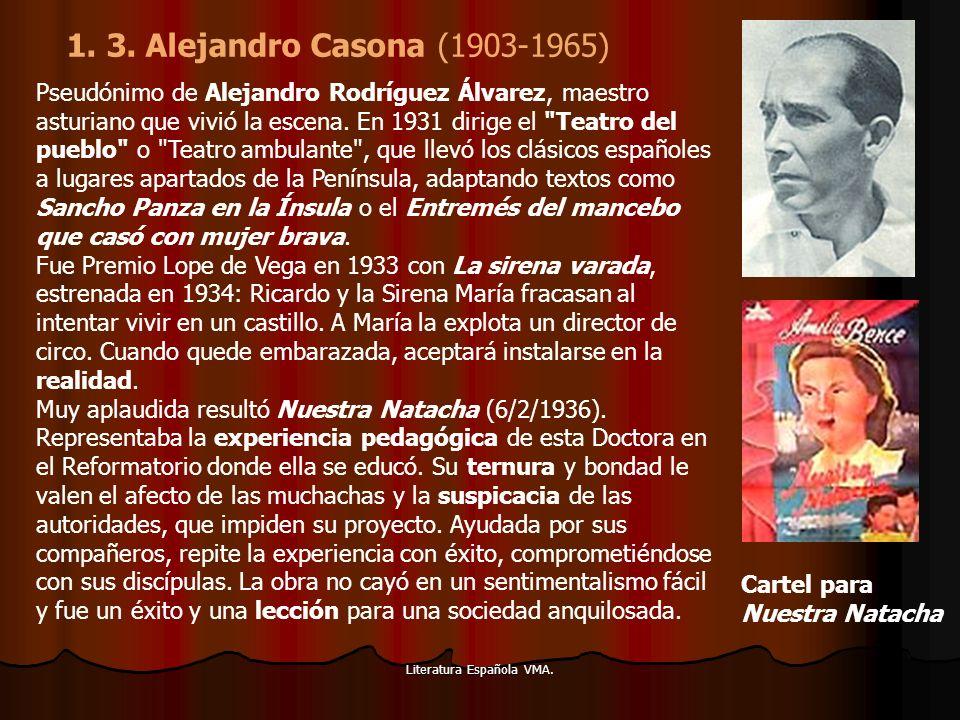 Literatura Española VMA. Pseudónimo de Alejandro Rodríguez Álvarez, maestro asturiano que vivió la escena. En 1931 dirige el