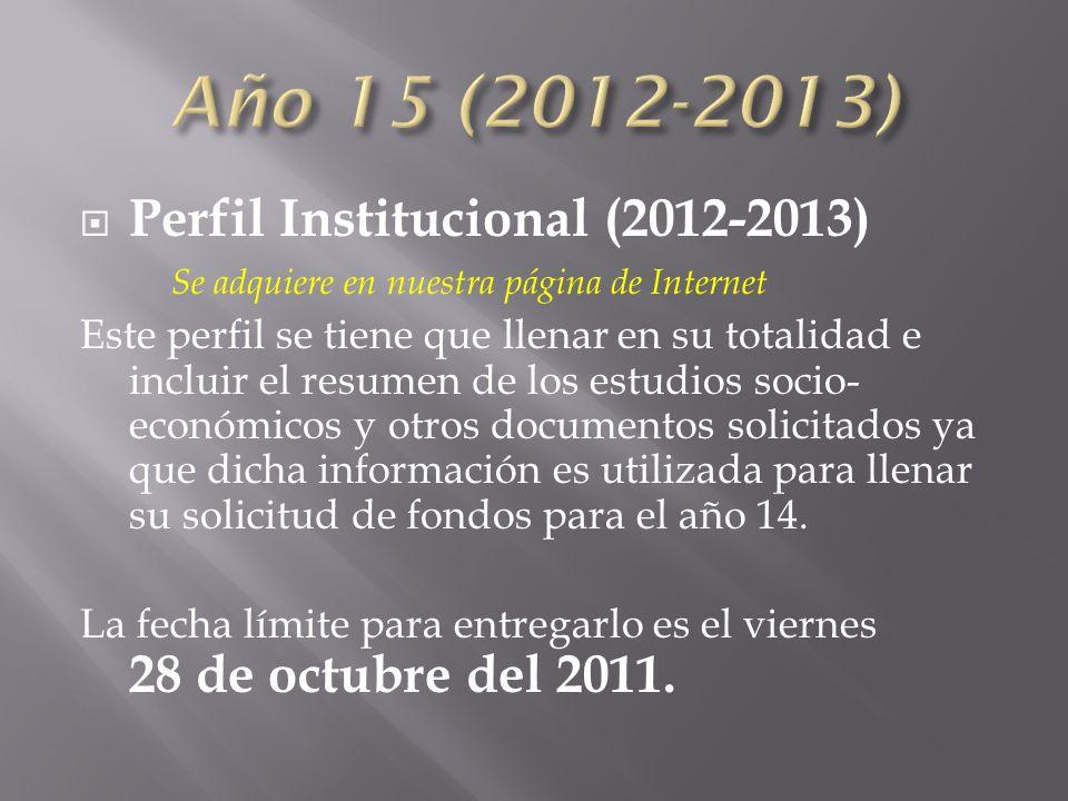 Perfil Institucional (2012-2013) Se adquiere en nuestra página de Internet Este perfil se tiene que llenar en su totalidad e incluir el resumen de los estudios socio- económicos y otros documentos solicitados ya que dicha información es utilizada para llenar su solicitud de fondos para el año 14.