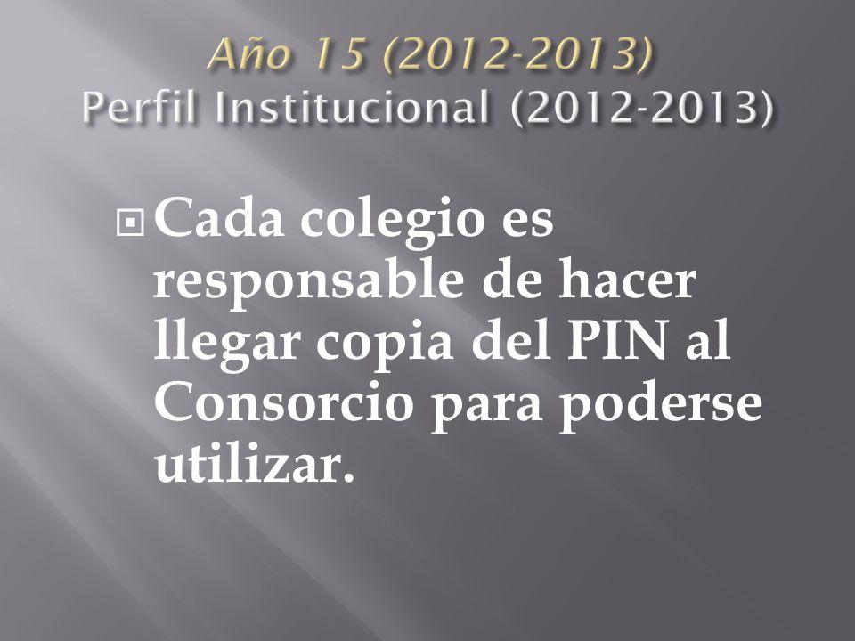 Cada colegio es responsable de hacer llegar copia del PIN al Consorcio para poderse utilizar.