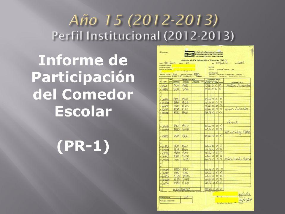 Informe de Participación del Comedor Escolar (PR-1)