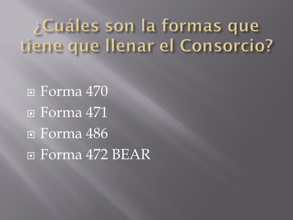 Forma 470 Forma 471 Forma 486 Forma 472 BEAR