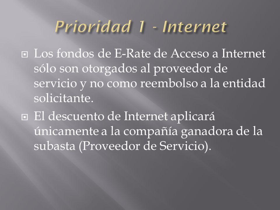 Los fondos de E-Rate de Acceso a Internet sólo son otorgados al proveedor de servicio y no como reembolso a la entidad solicitante.