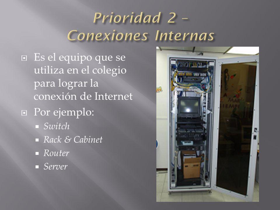 Es el equipo que se utiliza en el colegio para lograr la conexión de Internet Por ejemplo: Switch Rack & Cabinet Router Server