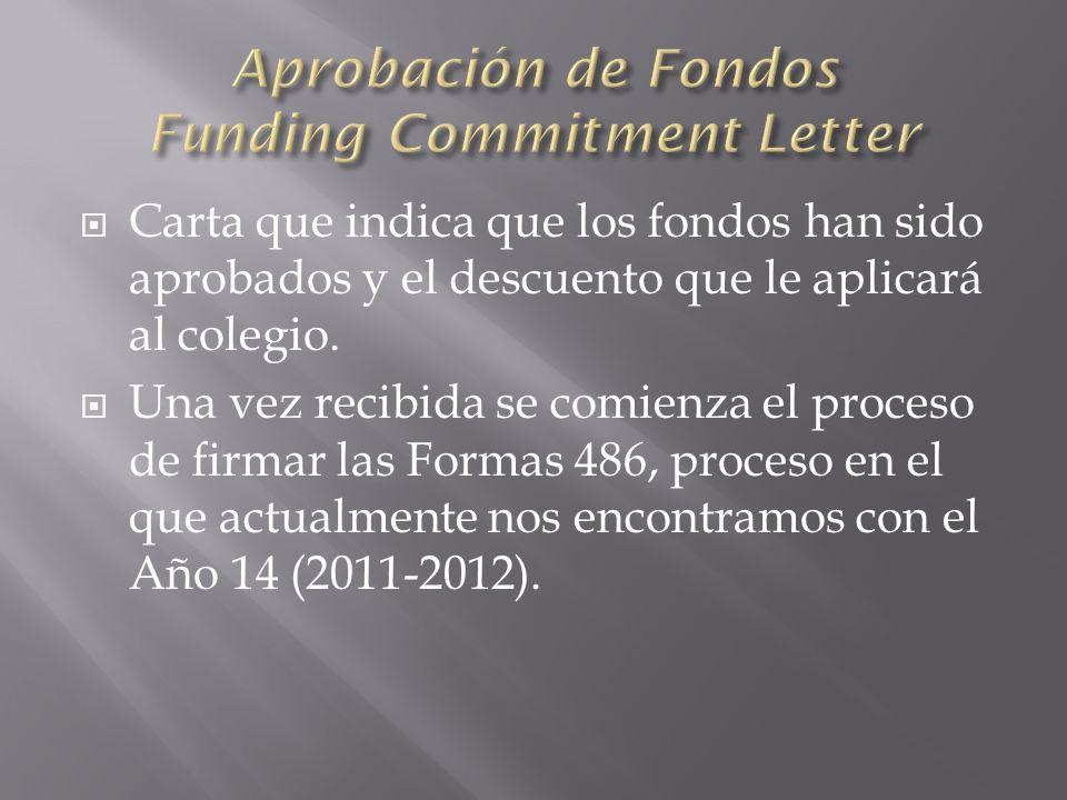 Carta que indica que los fondos han sido aprobados y el descuento que le aplicará al colegio.
