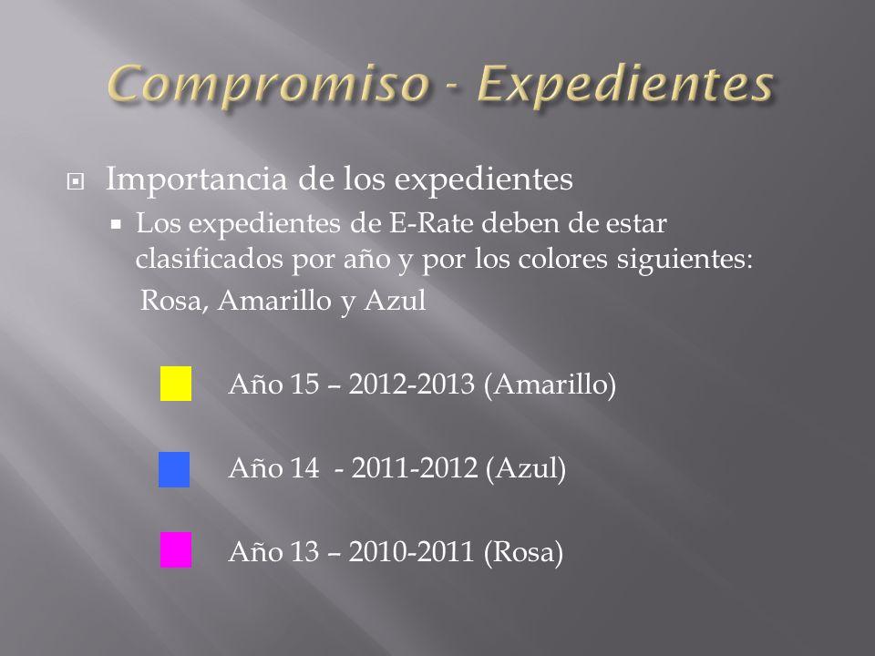 Importancia de los expedientes Los expedientes de E-Rate deben de estar clasificados por año y por los colores siguientes: Rosa, Amarillo y Azul Año 15 – 2012-2013 (Amarillo) Año 14 - 2011-2012 (Azul) Año 13 – 2010-2011 (Rosa)