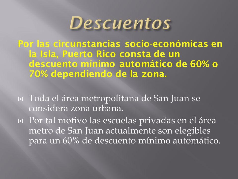 Por las circunstancias socio-económicas en la Isla, Puerto Rico consta de un descuento mínimo automático de 60% o 70% dependiendo de la zona.