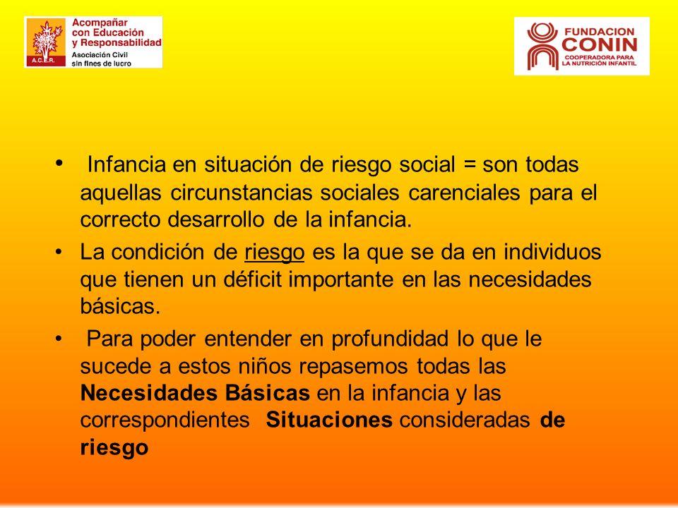 Infancia en situación de riesgo social = son todas aquellas circunstancias sociales carenciales para el correcto desarrollo de la infancia. La condici