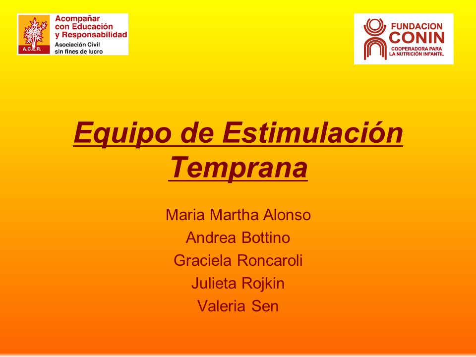 Equipo de Estimulación Temprana Maria Martha Alonso Andrea Bottino Graciela Roncaroli Julieta Rojkin Valeria Sen