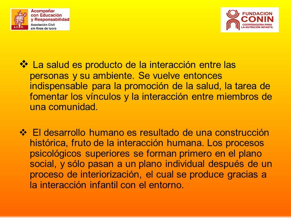 La salud es producto de la interacción entre las personas y su ambiente. Se vuelve entonces indispensable para la promoción de la salud, la tarea de f