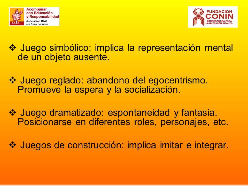 Juego simbólico: implica la representación mental de un objeto ausente.