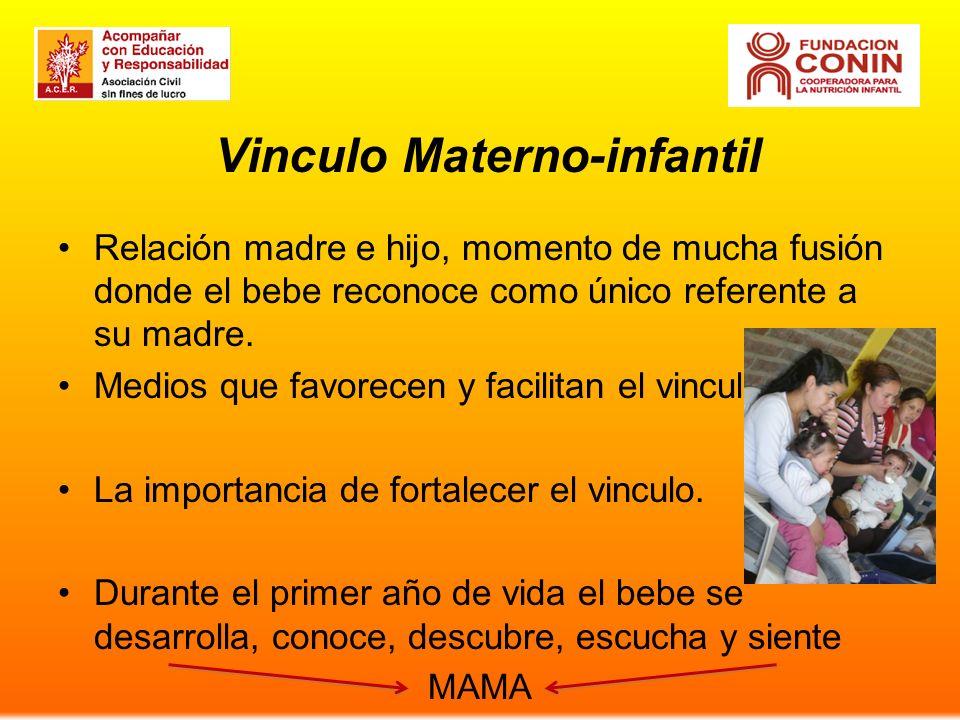 Vinculo Materno-infantil Relación madre e hijo, momento de mucha fusión donde el bebe reconoce como único referente a su madre. Medios que favorecen y