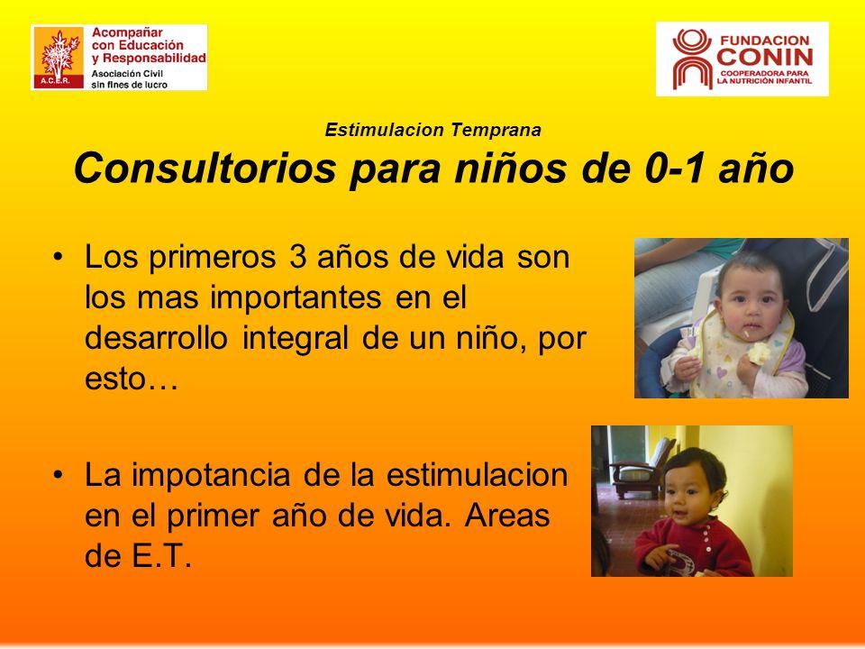 Estimulacion Temprana Consultorios para niños de 0-1 año Los primeros 3 años de vida son los mas importantes en el desarrollo integral de un niño, por