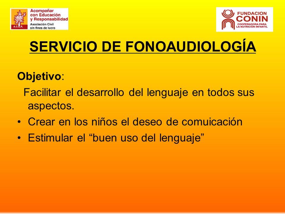 SERVICIO DE FONOAUDIOLOGÍA Objetivo: Facilitar el desarrollo del lenguaje en todos sus aspectos. Crear en los niños el deseo de comuicación Estimular