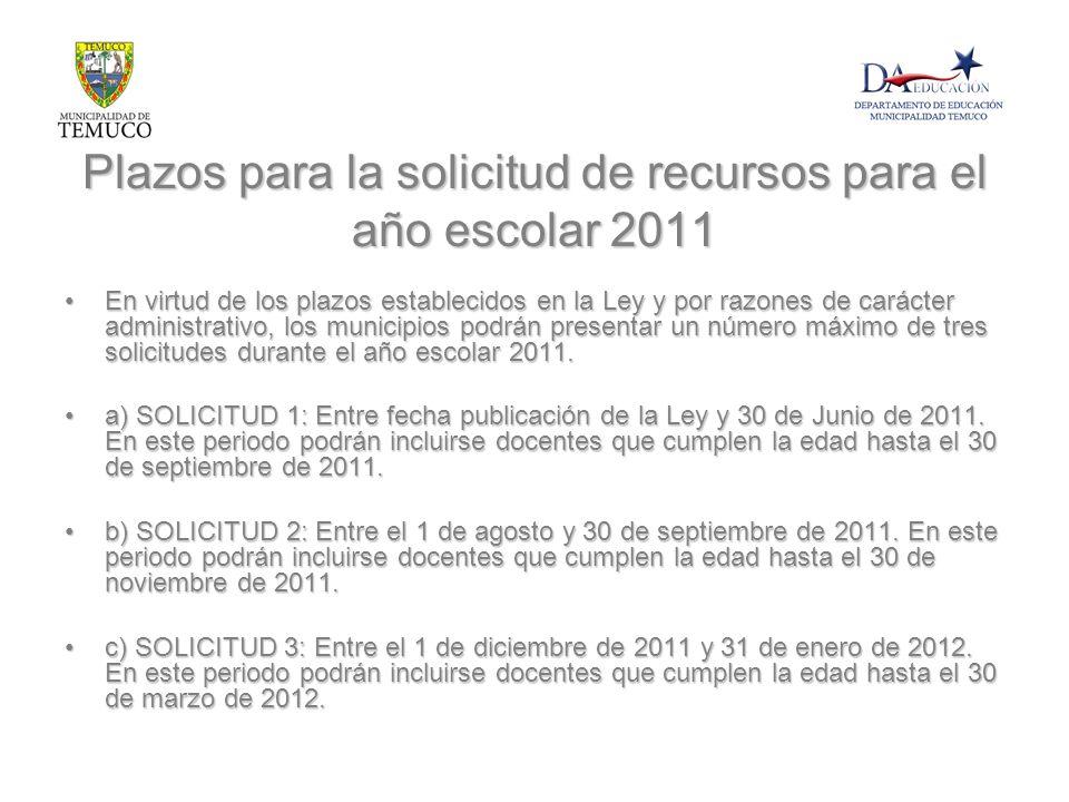 Plazos para la solicitud de recursos para el año escolar 2011 En virtud de los plazos establecidos en la Ley y por razones de carácter administrativo,