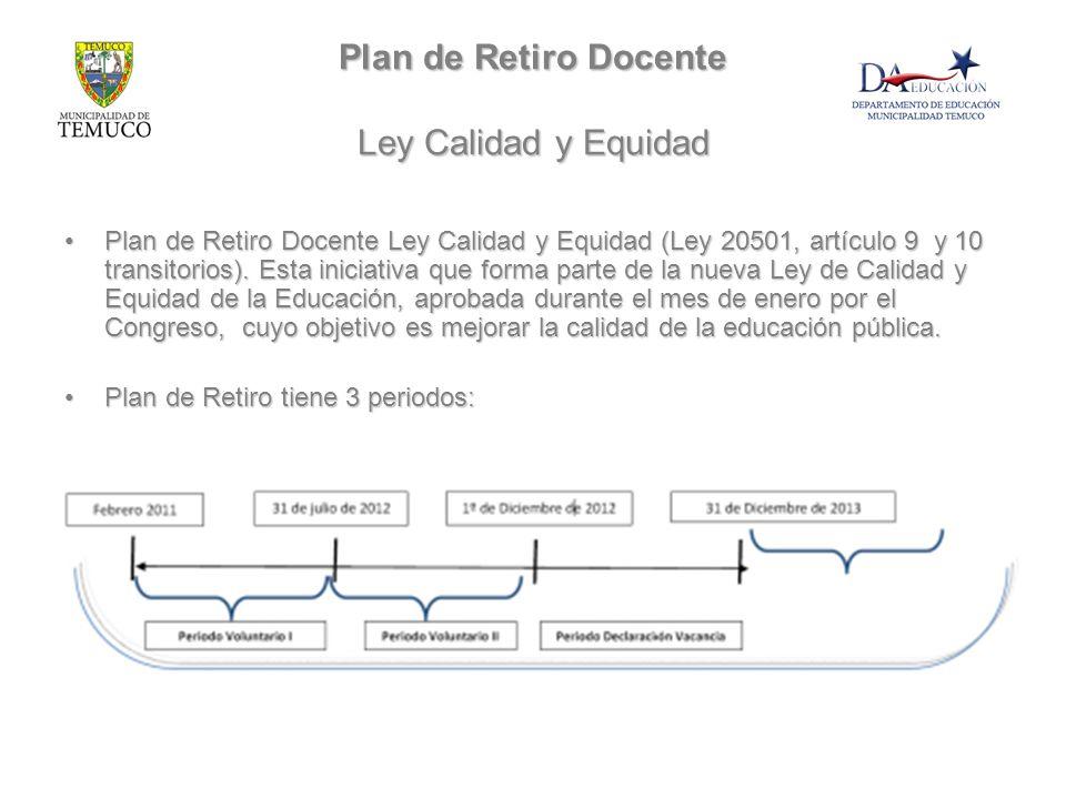 Plan de Retiro Docente Ley Calidad y Equidad Plan de Retiro Docente Ley Calidad y Equidad (Ley 20501, artículo 9 y 10 transitorios). Esta iniciativa q