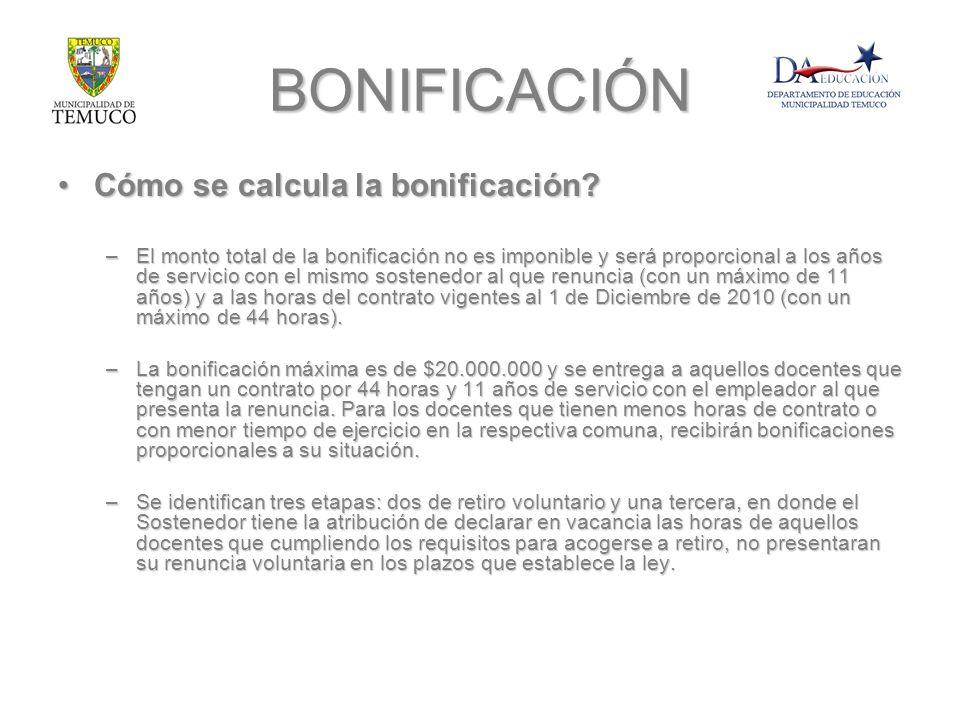 BONIFICACIÓN Cómo se calcula la bonificación?Cómo se calcula la bonificación? –El monto total de la bonificación no es imponible y será proporcional a