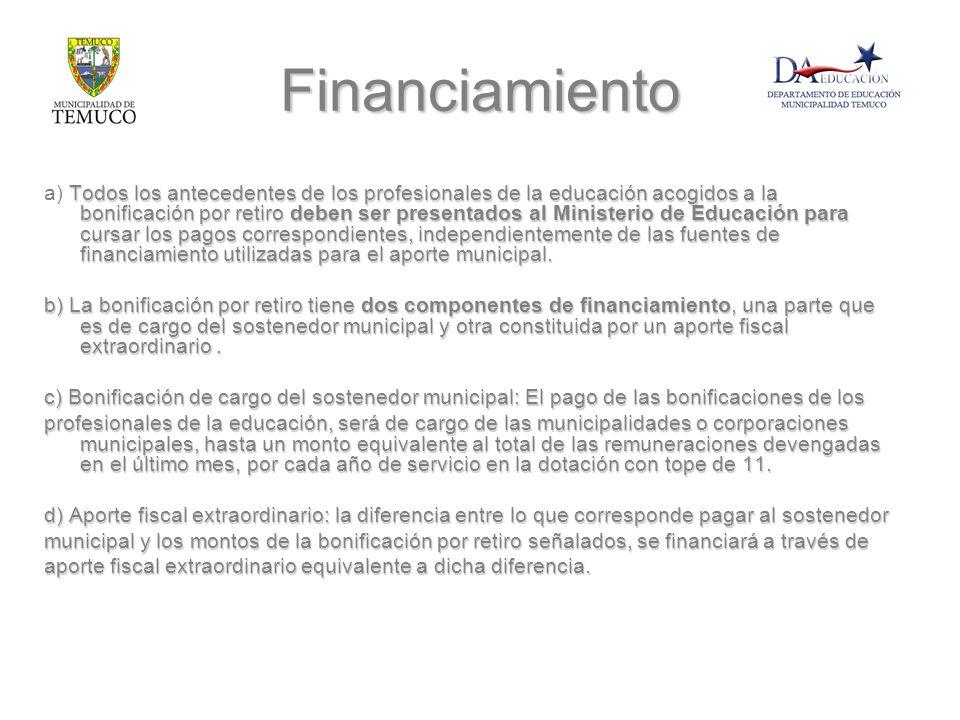 Financiamiento Todos los antecedentes de los profesionales de la educación acogidos a la bonificación por retiro deben ser presentados al Ministerio d